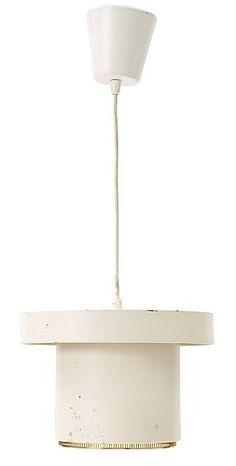 An Alvar Aalto 'A 201' pendant lamp, Valaistustyö Ky, Finland 1950's.  White lacquered sheet metal, perforated brass ring. Marked VALAISTUSTYÖ A201. Height 20 cm, diameter 29 cm.