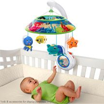 Mobile, can find at Wal-mart, $38.69, moves around is circles sometimes lights up and makes sounds,stimulating for children because it helps them develop their sight.