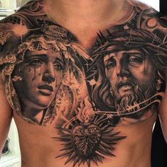 Blessed are those who trust in the lord, and have made the lord their hope and confidence. After 3 days in the chair I couldn't be more… Skull Tattoos, Body Art Tattoos, Tattoo Cristo, Religious Tattoos For Men, Archangel Michael Tattoo, Jesus Tattoo Design, Jesus Drawings, Mary Tattoo, Christ Tattoo