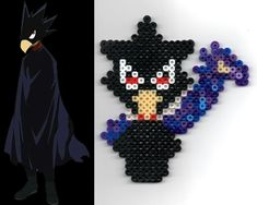 Fumikage Tokoyami Dark Shadow My Hero Academia perler bead design pattern Perler Bead Designs, Melty Bead Designs, Melty Bead Patterns, Kandi Patterns, Pearler Bead Patterns, Perler Patterns, Beading Patterns, Perler Beads, Perler Bead Art