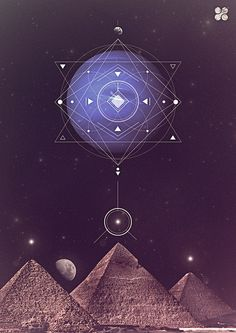 Sacred Geometry, the Egyptian Pyramids. Art Visionnaire, Visionary Art, Flower Of Life, Ancient Egypt, Alchemy, Magick, Wicca, Graphic Design, Geometry Tattoo