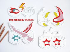 DIY superheroes masks by La maison de Loulou Halloween Decorations For Kids, Halloween Costumes For Kids, Crafts For Kids To Make, Craft Activities For Kids, Masque Halloween, Halloween Week, Superhero Birthday Party, Mask For Kids, Kids Playing