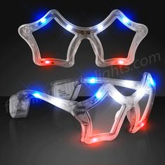 Red White & Blue Flashing LED Star Glasses! Be a Star With These Star Shaped Shades!