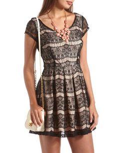 Eyelash Lace Skater Dress: Charlotte Russe