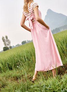 madewell fleur bow-back dress worn with marin sweater tee.