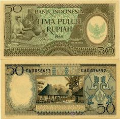 BILLETE INDONESIA - 50 RUPIAS - 1964 Money Notes, Valuable Coins, Money Cards, Old Money, World Coins, People Of The World, Vintage World Maps, Around The Worlds, Stamp