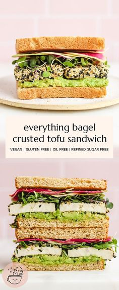 Easy, 15 minute everything bagel crusted tofu sandwich! This sandwich makes an awesome lunch, or on the go meal for school and work. It's high in plant protein, gluten free and oil free. #vegan #vegansandwiches #glutenfreevegan #mealprep #schoollunch #worklunch #highprotein #glutenfree #oilfree #wfpb #meatlessmeals #vegetarian #tofurecipes #vegansandwich #15minutemeal #tofu #everythingbagel #healthyveganmeals #veganprotein #highproteinmeals