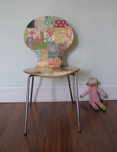 decoupage chair- cute with such a simple chair. The patchwork will fit perfect for her new room