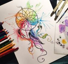 This was a commission for EAMS81 It was so much fun to be able to work on this! I love dreamcatchers and I love rainbow watercolors-- so what a perfect combo