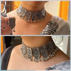 Indian Jewelry Earrings, Indian Jewelry Sets, Silver Jewellery Indian, Jewelry Design Earrings, Indian Jewellery Design, Jewelery, Silver Jewelry, Indian Necklace, Jewellery Designs