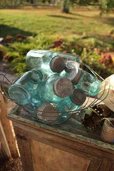 Beautiful blue mason jars in country sunshine ~