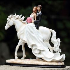 Romantic Love 1314 Wedding Cake Topper Bride And Groom Riding On A Horse Holding Rose High Quality Resin Wedding Gift Home Decor