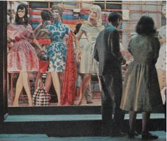 1960s Window Shopping Storefront Vintage Photo Mannequins Fashion Dresses Womenswear