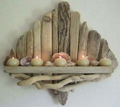 Driftwood candle holder shelf