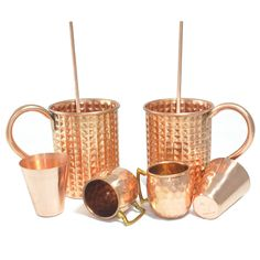 Amazon.com | DakshCraft ® Copper Diamond Cut Cocktail Mug (Capacity 15.59 oz) with FREE Beer Copper Shot Mug (Capacity - 2 oz pr mug), Wine Copper Shot Glass (Capacity - 2 oz pr glass) & Copper Straw, Set of 2: Glassware & Drinkware