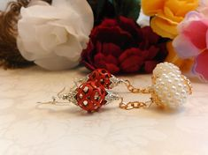 Earrings Red Cage and White Pierced Handmade One of a Kind