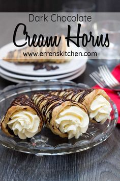 What more could you possibly want for a dessert other than this? This easy recipe for homemade Dark chocolate Cream Horns is a puff pastry filled with cream, The perfect sweet heaven! #ErrensKitchen #desserts #sweetrecipes