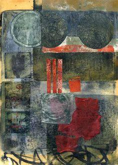 "The Old Cells Studio - Michèle Brown Art  Landscape Green  Acrylics 8""x10"" Monoprint Ink jet transfer"