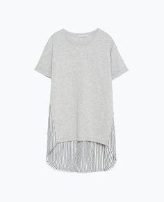 Image 6 of MIXED FABRIC T-SHIRT from Zara
