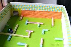 Use drinking straws to construct a really cool maze for marbles. Time how long it takes to get the marbles …