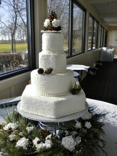"Winter themed wedding - buttercream covered in sugar crystals creates a ""snow"" effect."