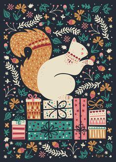 Merry Little Squirrel  Art Print