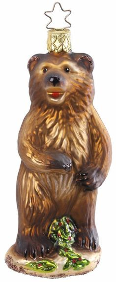 """Grizzly. 5"""" glass ornament.  Hand-blown, hand-painted. From Inge Glas studios in Neustadt, Germany. Available at www.mygrowingtraditions.com"""