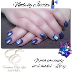 ~Nails by Jessica~ Get your nails ready for Christmas! A beautiful white snow flake on blue metallic Gel Polish, starring Lucy as our lovely hand model! We have a variety of gorgeous gel nail colors to choose from. To book your nail appointment call: 604) 852-2228. www.abbotsfordspa.ca