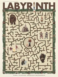 Could turn this into a baby shower game, make it more difficult for fans my making them identify how they passed through each of the characters they encountered. David Bowie Labyrinth, Labyrinth 1986, Labyrinth Movie, Jim Henson, Labrynth, Spoke Art, Goblin King, The Dark Crystal, Books