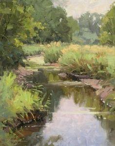 August Marshlight by Steve Atkinson Oil ~ 14 x 11