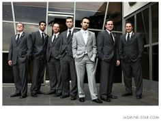 This.  Groom in light grey with groomsmen in dark grey! YES EXACTLY!!!!!!