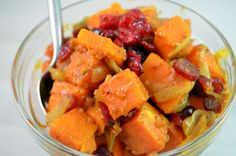 #Butternut Squash with #Cranberries (look for unsweetened cranberries or cherries at Trader Joe's)