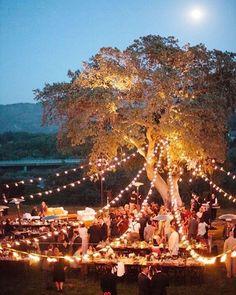 Dreamy twinkle light reception via @refinery29  #weddinginspo #nightwedding