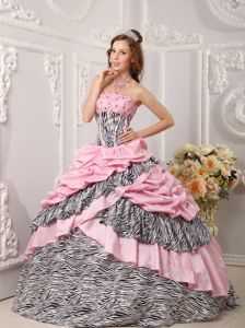 Zebra Print and Pink Ball Gown Sweet 15 Dresses with Beadings