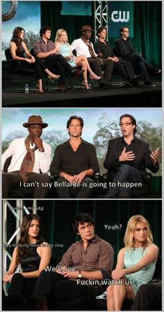 I love this - their faces! Even the cast ships Bellarke || Marie Avgeropoulos, Bob Morley, Eliza Jane Taylor, Isiah Washington, Henry Ian Cusick and Jason Rothenberg || Octavia Blake, Bellamy Blake, Clarke Griffin, Thelonius Jaha, Marcus Kane || The 100