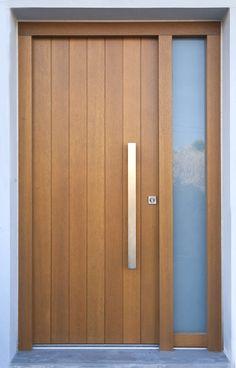 New wooden main door design architecture ideas Wooden Front Doors, Modern Front Door, The Doors, Glass Front Door, Sliding Glass Door, Front Entry, Panel Doors, Contemporary Front Doors, Sliding Doors