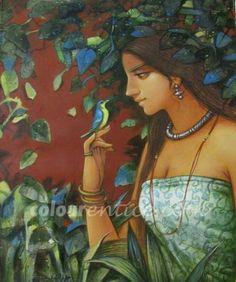 """Lady with bird"" a great Artwork by Artist Subrata Das  http://colourentice.com/products/lady-bird  Medium: Acrylic on Canvas & Size: 24"" X 30"" #Art #Paintings #Artwork"