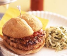General Tso Chicken Burger Recipe - A Chinese-inspired treat, these chicken burgers are spiced with hoisin sauce and fresh ginger.