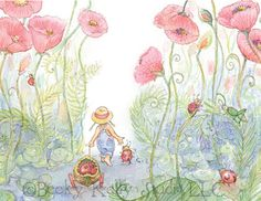 Friends Walking through the Poppies ~ Set of 5 - NEW!