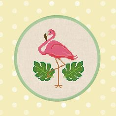 Pink Flamingo. Cute Simple Modern Tropical Leaves Flamingo
