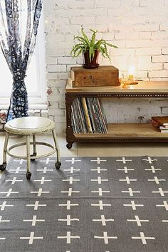Urban Outfitters Assembly Home Plus Sign Handmade Rug