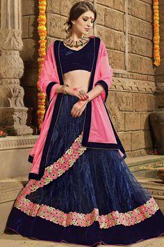 Blue Velvet Lehenga And Net Choli Price:£89 Blue velvet semi stictch lehenga choli. Embellished with embroidered, resham, zari and stone. It is perfect for festival wear and wedding wear. Unstitch blouse and 0.80 mtr Choli : 2.25 mtr Dupatta : 3 mtr Lehenga lehenga inner fabric is satin. http://www.andaazfashion.co.uk/womens/lehenga-choli/blue-velvet-lehenga-and-net-choli-dmv8719.html