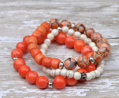 Summer Coral Layering Beaded Bracelets / Set of 3 by BeadRustic, $50.00