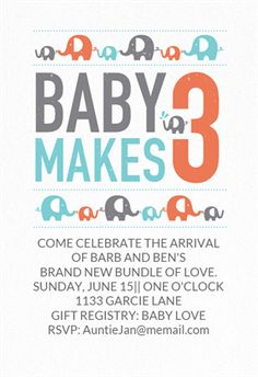 """""""Baby Makes 3""""  printable invitation template. Customize, add text and photos. Print or download for free!"""