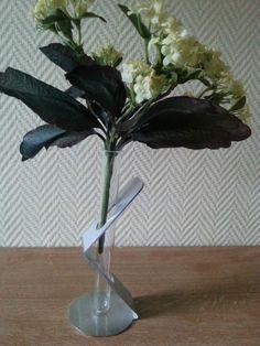 Designer Vase / Reagenzglas mit Edelstahl