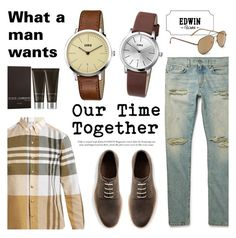 """Edwin Watch - Our Time Together"" by helenevlacho ❤ liked on Polyvore featuring Moncler Gamme Bleu, KENNY, Yves Saint Laurent, MANGO MAN, Dolce&Gabbana and Aéropostale"