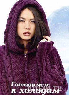 Теплое пальто спицами с аранскими узорами