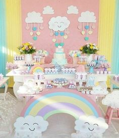Ideas For Baby Shower Decoracion Arcoiris Cadeau Baby Shower, Idee Baby Shower, Baby Boy Shower, Cloud Baby Shower Theme, Baby Shower Themes, Baby Shower Decorations, Shower Ideas, Rainbow Birthday Party, Unicorn Birthday