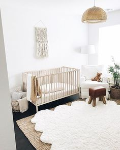 nash's tour is on today 🌱 note: i move things around all the time + this ottoman is now in our living room. White Nursery, Baby Nursery Decor, Baby Bedroom, Nursery Neutral, Nursery Design, Nursery Room, Kids Bedroom, Brown Nursery, Nursery Ideas