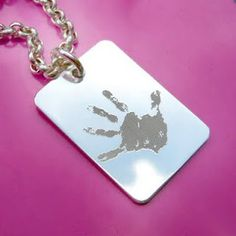 Handprint (my son, from daycare..) engraved om Sterlingsilver charm.